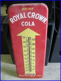Vintage 1950's Drink Royal Crown Cola Thermometer /metal Sign 26