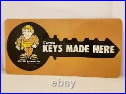 Vintage 1950's Hardware Store 2 Sided Locksmith KEYS MADE Metal Advertising Sign