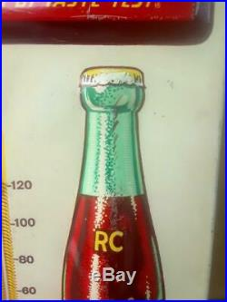 Vintage 1950's RC Royal Crown Cola Soda Pop Embossed Metal Thermometer Sign Nice