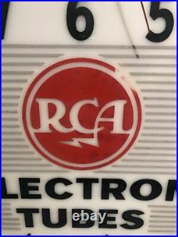 Vintage 1950's RCA Radio Electron Tubes Lighted Dealer Advertising Clock Sign