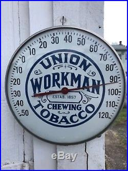 Vintage 1950's Union Workman Chewing Tobacco Gas Oil 12 Metal Thermometer Sign