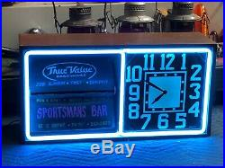 Vintage 1950s ACTION AD Electric NEON Rotating SIGN Advertising OLD CLOCK Works
