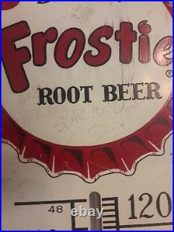 Vintage 1950s Drink Frostie Root Beer Large Metal Soda Advertising Thermometer