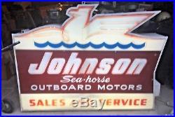 Vintage 1950s Johnson Seahorse Outboard Lighted Dealer Sign Advertisement NICE
