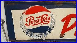 Vintage 1950s Pepsi Cola Soda Bottle Cap Gas Station Embossed Advertising Sign