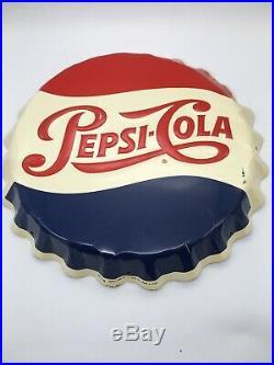 Vintage 1950s Pepsi Cola Soda Pop Bottle Cap Gas Station 19 Embossed Metal Sign