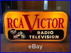 Vintage 1950s RCA Victor Radio Television Double Sided Light Up Sign Nipper Dog