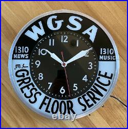Vintage 1950s WGSA GRESS Lighted Radio Station Advertising Clock Sign Ephrata Pa