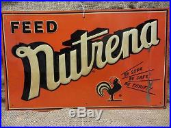 Vintage 1951 Embossed Nutrena Feed Sign Antique Old Farm Seed Nice Color 9076