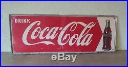 Vintage 1952 Coca Cola Soda Pop Bottle Store Tin Sign Rare 32x12 Advertising