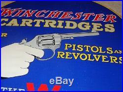 Vintage 1957 Winchester Cartridges Pistol Revolver 12 Porcelain Metal Gun Sign