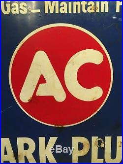 Vintage 1958 Ac Spark Plugs Double Sided Flanged Advertising Gas Station Sign