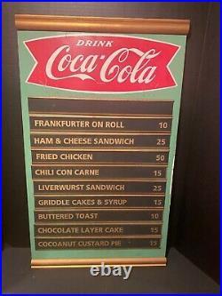 Vintage 1960's Coca Cola Diner/ Restaurant Menu Board Advertising Sign