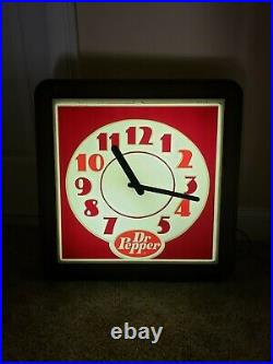 Vintage 1960's DR PEPPER Soda Large Lighted Advertising Wall Clock Sign Light