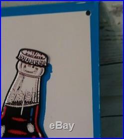 Vintage 1960's Frostie Root Beer Soda Pop Gas Station 17 Embossed Metal Sign