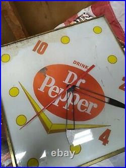 Vintage 1960's Old DR. PEPPER Light Up PAM Antique ADVERTISING Wall DINER CLOCK