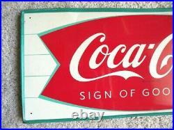 Vintage 1960's Original Fish Tail Coca Cola Sign. 31 3/4 11 3/4