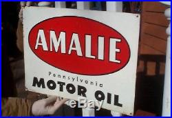 Vintage 1961 Amalie Motor Oil Metal Sign Gas Gasoline Service Station 20X15