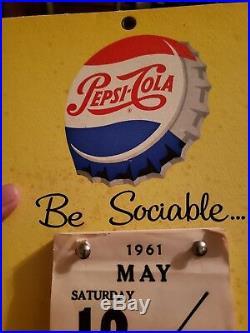 Vintage 1961 PEPSI COLA CALENDAR SODA POP ADVERTISING CARDBOARD SIGN