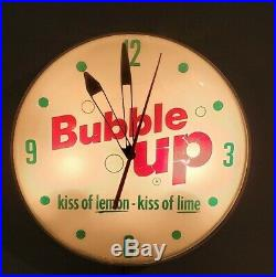 Vintage 1961 Pam Bubble Up Soda Light Up Clock Advertising Sign