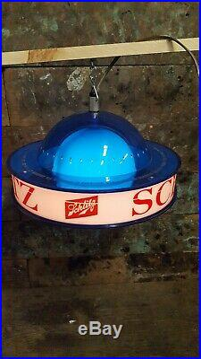 Vintage 1961 Schlitz Beer Lighted Rotating Orb Globe Hanging Sign Advertisement