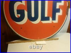 Vintage 1962 GULF Oil Sign 42 Diameter. PICK-UP ONLY item