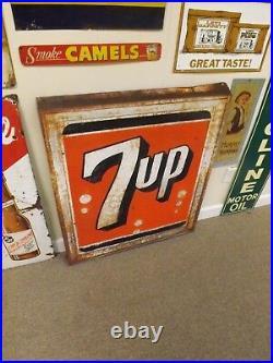 Vintage 1963 Large 7 Up Metal Sign 36 x 32 GAS OIL SODA COLA Stout Sign