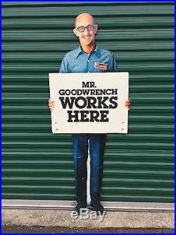 Vintage 1970's MR GOODWRENCH 6' Metal Stand-Up GM Collectible Auto/Car Sign