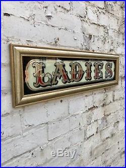 Vintage 1970s Ladies Pub Mirror Sign Advertising Home Bar Retro Signage Toilets