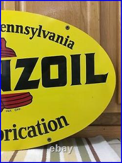 Vintage 1972 Pennzoil Double Sided Metal Oval Sign A M 1-72 31 X 18 Gas Oil 1
