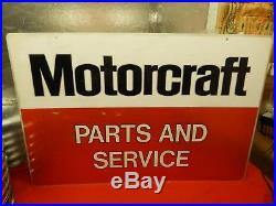 Vintage 2 Sided Ford FoMoCo Motorcraft Parts and Service Metal Sign 36 x 24