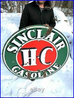 Vintage 2sided Porcelain 48 inch HC Sinclair Gasoline Round Sign