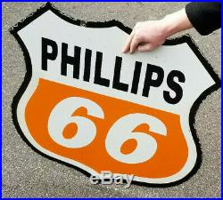 Vintage 30in Phillips 66 Gasoline Porcelain Metal Sign Gas orange White 2 sided