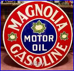Vintage 42 Porcelain Magnolia Motor Oil Gasoline Sign