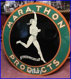 Vintage 48 Original Marathon Porcelain Oil Sign