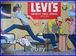 Vintage 50s LEVIs Jeans Cardboard WINDOW Advertising SIGN 30 x 94.5