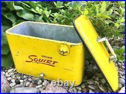 Vintage 50s Metal SQUIRT Cooler withPlug, Opener & SIX FULL Glass Squirt Bottles