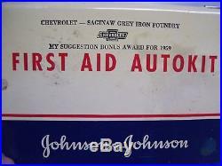 Vintage 50s original GM CHEVROLET promo auto first aid rare parts in tin box