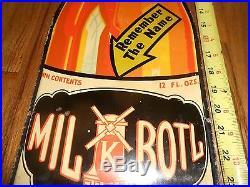 Vintage 5c Original MIL-K-BOTL Soda Die Cut Tin BOTTLE Advertising Metal SIGN