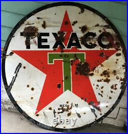Vintage 6 foot round Texaco gas sign