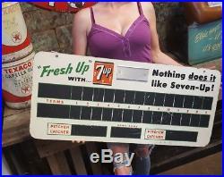Vintage 7 Up Fresh Up DBL Sided Masonite Advertising Sign Baseball Scoreboard