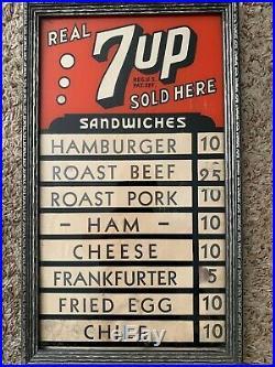 Vintage 7up Advertising Sign Menu Board