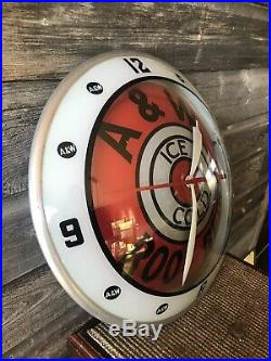 Vintage A&W Double Bubble Advertising Clock Rare Sign