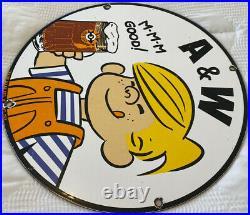 Vintage A & W M-m-m Good! Porcelain Sign Dennis The Menace Root Beer Float