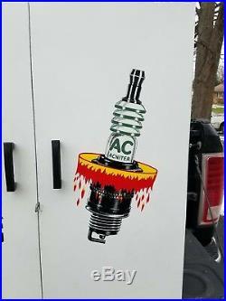 Vintage AC Fire Ring Spark Plug Display Cabinet 1960s Chevrolet Pontiac Olds