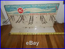 Vintage AC Marine Spark Plugs Advertising STORE Display Rack Boat OUTBOARD SIGN