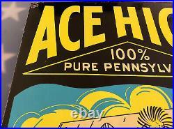Vintage Ace High Motor Oil Porcelain Sign Gas Station Pump Plate Service Lube