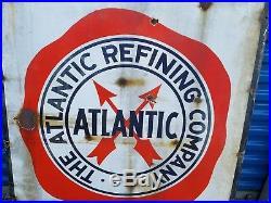 Vintage Advertising Atlantic Gasoline Porcelain Sign Large LOCAL PICKUP ONLY