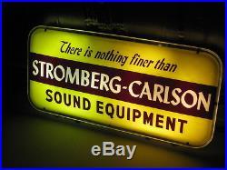 Vintage Advertising Dealer Stromberg-carlson Sound Audio Equipment Lighted Sign