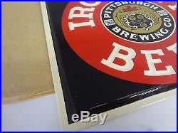 Vintage Advertising Iron City Beer Tin Over Cardboard Sign Nos Mint 971-x
